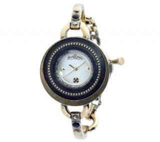 Lucky Brand Ladies Antiqued Goldtone Bangle Watch —