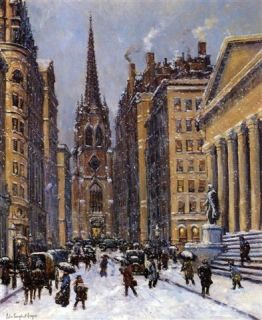 Colin Campbell Cooper Wall Street Facing Trinity Church Oil Painting