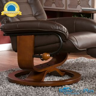 Recliner w Ottoman Cafe Brown Leather Chair Brianna Design