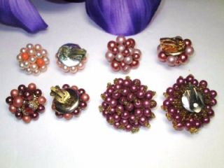 SETS LOT PEARL PINK PURPLE CORAL BEADED CLIP GOLD/SILVER TONE EARRINGS