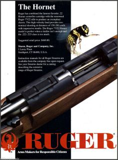 , RUGER Model 77/22 Hornet RIFLE AD Collectible Firearms Advertising