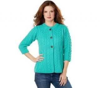 Merino Wool Empire Waist Aran Stitch 3/4 Sleeve Cardigan —