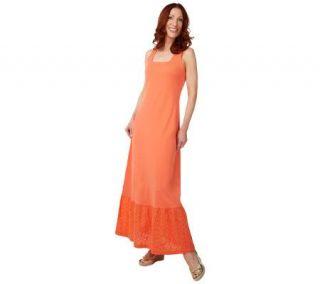 Liz Claiborne New York Maxi Dress with Eyelet Hem   A222641