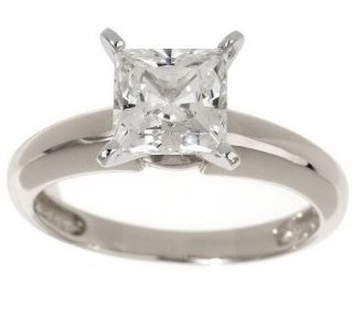 Diamonique 1.50 ct tw Princess Solitaire Ring 14K Gold —