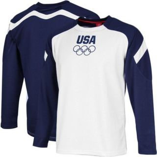 Team USA Podium Long Sleeve T Shirt White Navy Blue