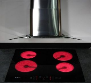 60cm Wide Electric Ceramic Cooker Hob & Extractor Hood