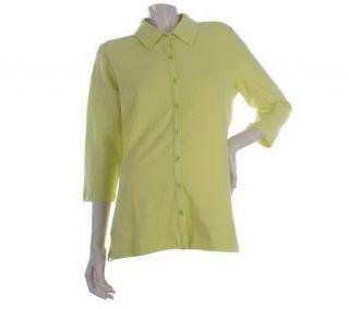 Denim & Co. Essentials 3/4 Sleeve Button Front Knit Shirt —