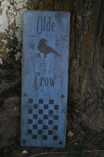 Colonial Blue Wood Olde Crow Sign Game Board Country Primitive Folk