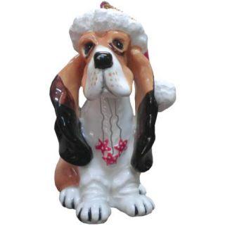 Top Dogs by Lynda Corneille Bassett Hound Ceramic Christmas Tree