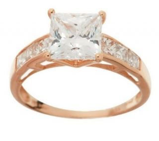 Diamonique 2.35 ct tw Princess Cut Ring, 14K Gold —