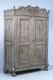 Antique Hand Painted Russian Armoire Circa 1850 1870