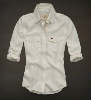 Hollister Bettys Womens Shirt Costa Mesa Button Down Blouse Top Cream