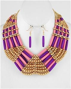 purple pink beaded gold earring necklace set fashion costume jewelry