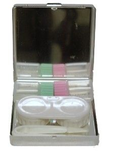 Silver Plated Eye Contact Lens Lense Care Kit Case Box