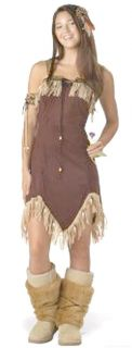 Costumes Teen Indian Squaw Princess Costume Set w Faux Fur Boot Tops
