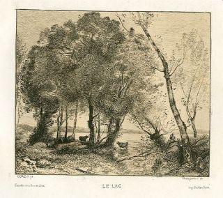 Jean Baptiste Corot Original Art Etching Le Lac