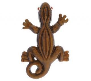 Sterling Carved Tigers eye Lizard Enhancer —