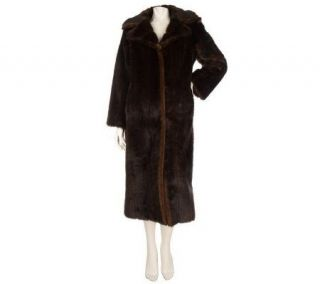 Dennis Basso Petite Full Length Faux Fur Coat Notch Collar —