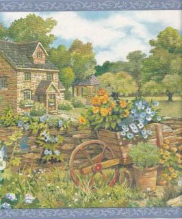 Cottage Rock Wall English Garden Wallpaper Border Cat