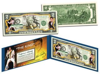 ELVIS PRESLEY The King Legal 2 USA dollar BILL COLORIZED 2 GIFT MONEY