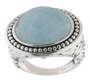 As Is SiedenGang Sterling Faceted Oval Milky Aqua Ring —