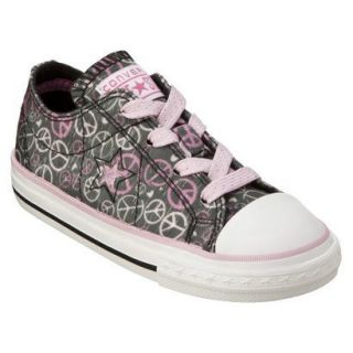 Converse Toddler Girls 7 Gray Shoe Peace Sign Design Glitter Pink