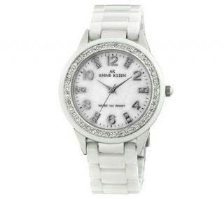 AK Anne Klein Ladies Silvertone and White Watch —
