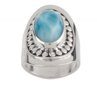 Taso Artisan Crafted Sterling Elongated Oval Larimar Ring —