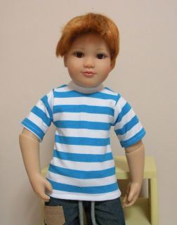 Fits 18 Inch Kidz n Cats Boy Doll Aqua Blue Stripe Short Sleeve Shirt