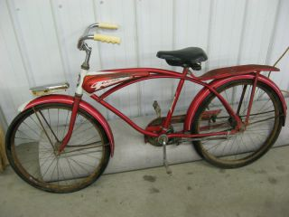 Vintage 1960 Columbia Torpedo Bicycle Bike Red Good Shape