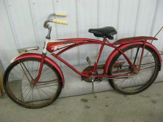 Vintage 1960 Columbia Torpedo Bicycle Bike Red Good Shape