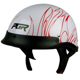 PGR B31 Convict Black Red HD Motorcycle Dot Approved Half Helmet