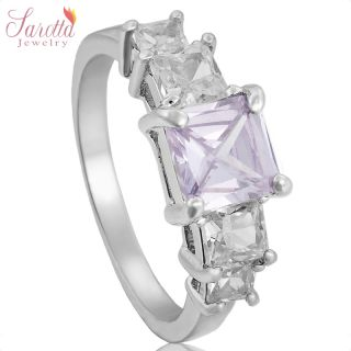 Sale Lady Fashion Jewelry Purple Tanzanite White Gold GP Cocktail Ring