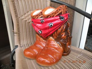 Mercuries Cowboy Cowgirl Cookie Jar w Horse Shoe Scarf