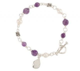 Michael Dawkins Sterling Facete Amethyst and Cultured Pearl 7 Bracelet