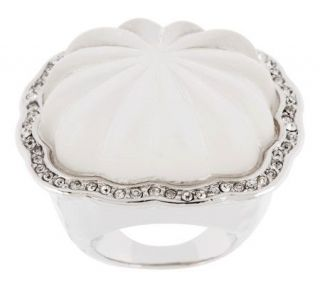 Kenneth Jay Lanes Fluted Lalique Style Ring —