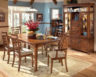 Country Mission Oak Dining Room Table Chairs Set New Furniture