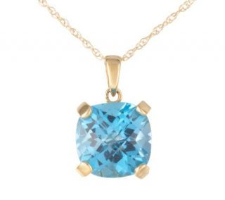 55 ct Swiss Blue Topaz Cushion Cut Pendant14KGold —