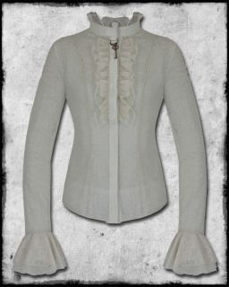 IVORY LACE STEAMPUNK VICTORIAN GOTH WOMENS COPPER KEY SHIRT BLOUSE TOP