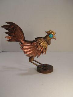 Small Copper & Brass Folk Art Rooster Sculpture Home Decor or Garden