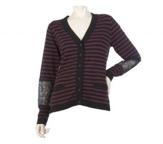 LOGO by Lori Goldstein Striped Cardigan with Lace Detail   A218855