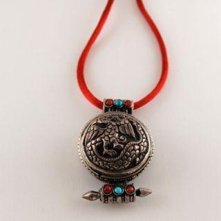 Antique Tibetan Silver Turquoise Coral Pendant Necklace