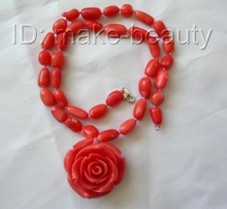 on  stunning pink baroque natural coral necklace flower pendant