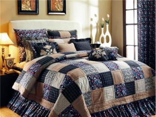 Primitive Country Bedding Quilt Indigo Hand Quilted Blues Cream Red