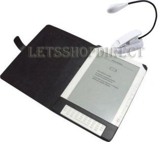 Kindle DX Black Leather Case Cover LED Light