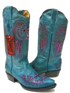 Ladies Turquoise Leather Western Cowboy Boots with Wings Cross
