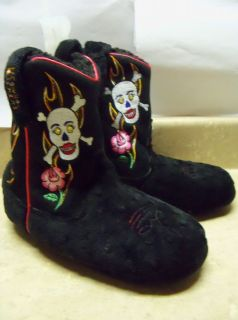 Black Skulls Flame Western Cowboy Boots House Slippers Womens Ladies