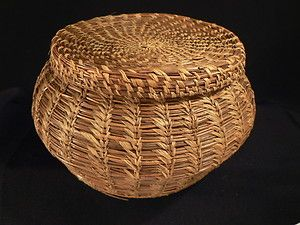Antique Folk Art Vintage Pine Needle Basket Coushatta