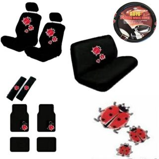 15pc Set Van Seat Cover Cute Red Ladybugs Black Floor Mats Wheel Belt