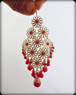 Vintage Gold GP Lace Chandelier Earrings Coral Pink New